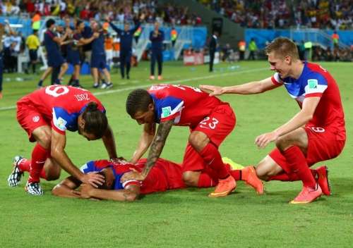 John Brooks celebrates his first goal as a U.S. international.